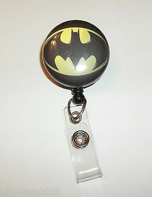 Durable Batman Super Hero button Retractable ID Name Badge Holder Reel clip on