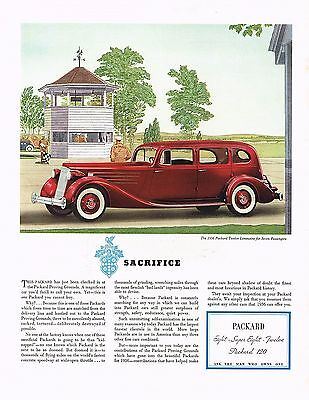 Used, 1936 BIG Original Vintage Packard Twelve Limousine Car Automobile Art Print Ad for sale  Shipping to United States
