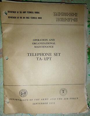 USAF - US ARMY - TELEPHONE SET - TA-1/PT - MANUAL - 1959 - Tet 1968, Vietnam War, used for sale  USA
