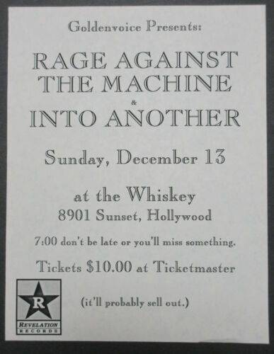 RAGE AGAINST THE MACHINE Whisky A Go Go 1992 PUNK Concert Flyer GOLDENVOICE Mint