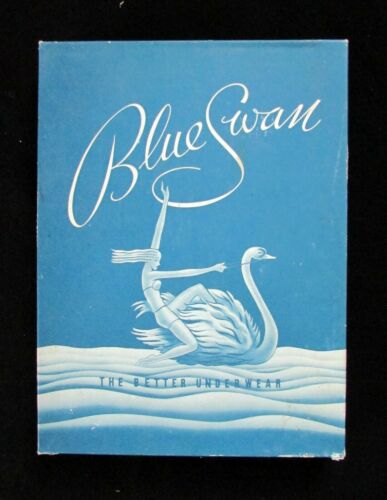 Vintage Blue Swan Underthings Underwear Advertising Box, Art Deco graphics, Blue