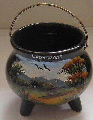 Vintage Black Pot Ladybrand South Africa Hand Painted 3 Legged Kettle Souvenir