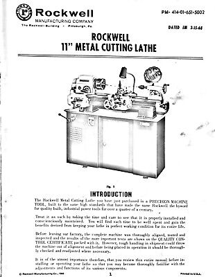 Rockwell 11 Inch Metal Cutting Lathe Instruction Parts Maintenance Manual