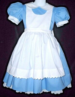 Alice in Wonderland Standard 2-piece Costume Dress Apron Custom Made Sizes 3-8