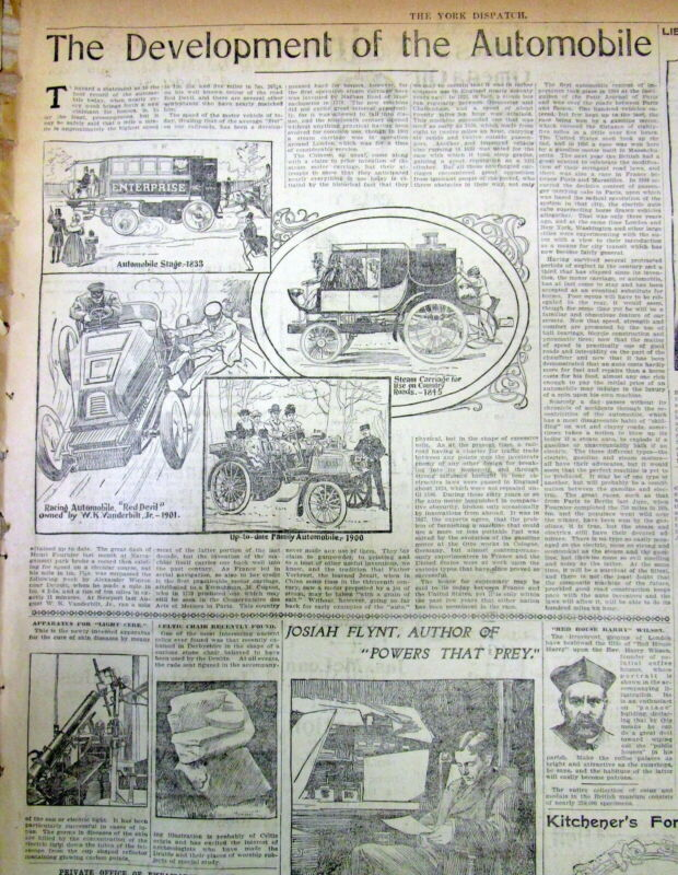 1901 newspaper Early illustrated poster showing DEVELOPMENT OF THE AUTOMOBILE