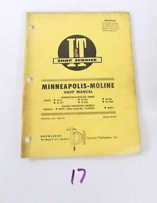 Mm-18 It Shop Service Manual Minneapolis Moline G-vi G-705 G706 G707 G708 G1000