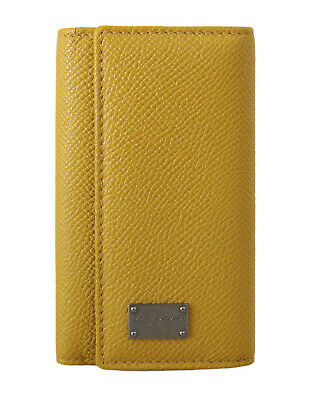 DOLCE & GABBANA Yellow Leather Wallet Case Mens Finder Chain Keyring RRP $320