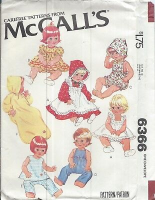 """McCall's 6366 Craft Pattern WARDROBE for BABY DOLLS Size 15½"""" & 17"""