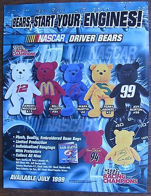 1999 NASCAR Driver Bears Sell Sheet (no product / no bears) Mark Martin, -