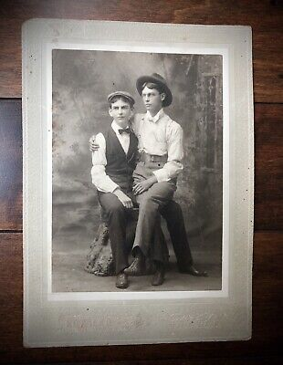 Antique Photo Affectionate ID'd Men Friends Virginia, Dated 1900 Percy Ayres