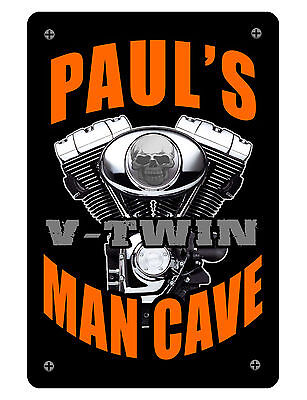 Personalized Man Cave Sign Printed With Your Name Custom High Gloss Aluminum