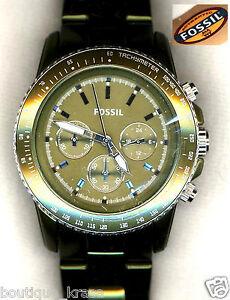 NWT-Fossil-CH2711-UNISEX-Womens-Stella-Chronograph-Green-Dial-Aluminum-Watch