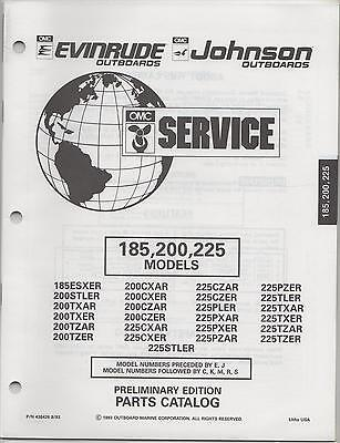 1994 Omc Evinrude Johnson Outboard 185, 200, 225 Models Parts Manual