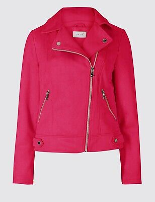Brand New Vegan Leather Faux Suede Biker Jacket Raspberry Fuchsia RRP£65 Size 16
