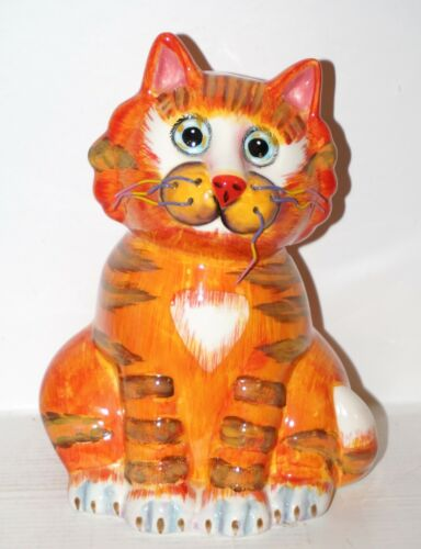 Whimsical Cat Bank Kitty Piggy Bank Wire Whiskers By BELLA CASA GANZ