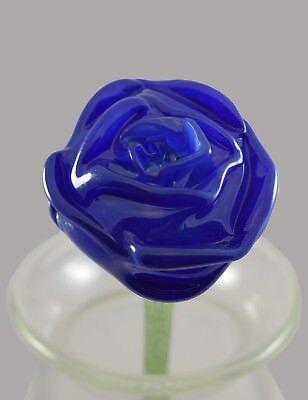 - Cobalt Blue Rose - Hand Blown Glass Flower
