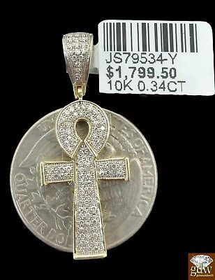 Genuine 10k Yellow Gold Real Diamond Ankh Cross Pendant, Mens, Women, Kids , N