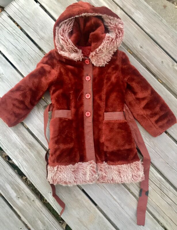 Vintage (1960's) Childrens Winter Coat Insulated With Hood