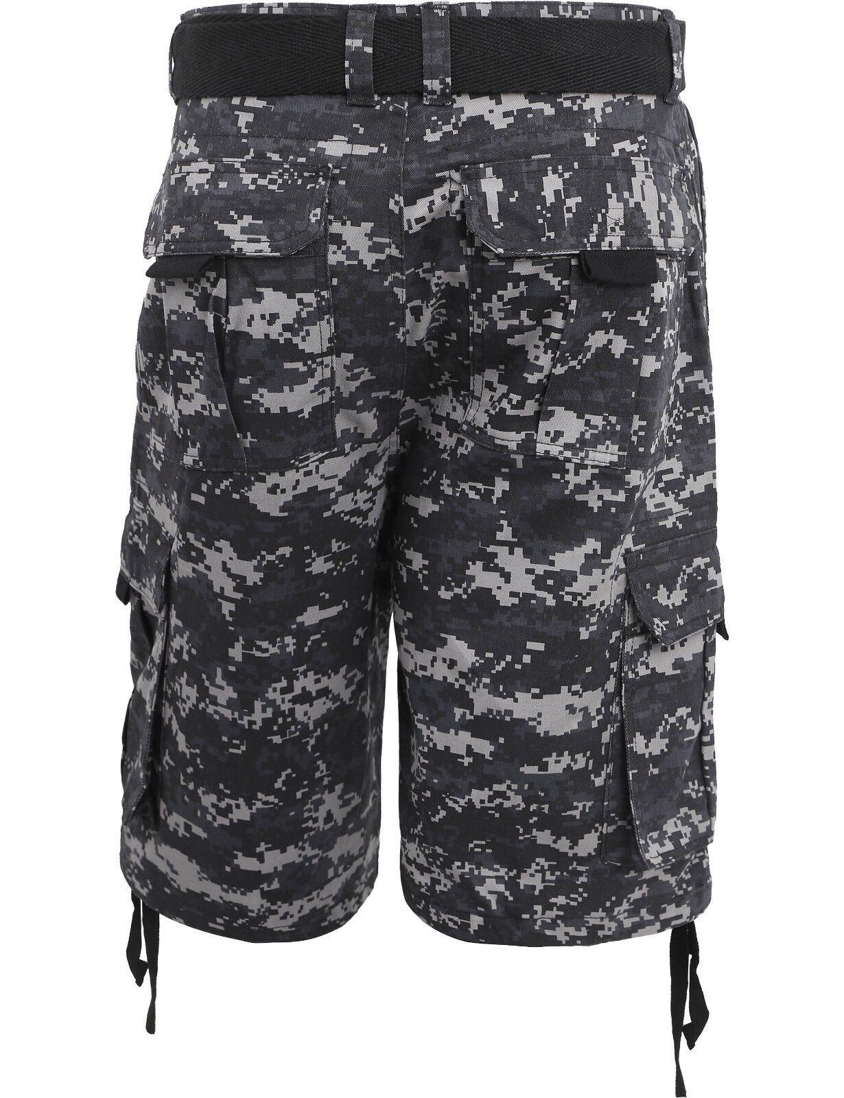 Mens Cargo Shorts with Belt 30 52 Twill Short Camo Pants Summer Multi Pocket