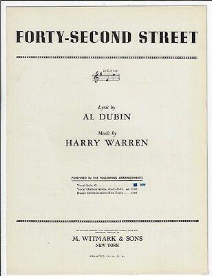 (AL DUBIN & HARRY WARREN Jazz Sheet Music FORTY-SECOND STREET 1932 Piano Vocal)