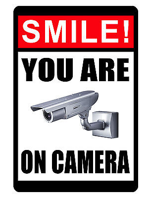 Smile you are on camera sign Durable Aluminum SecuritySign Never Rust Full Color (On Sign)