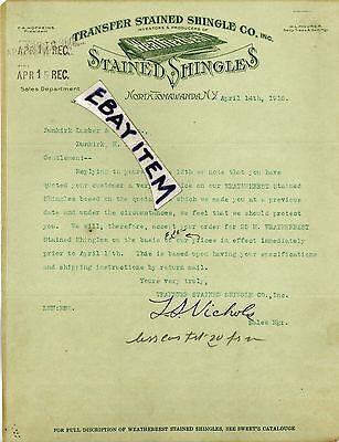 1916 Letter Stained Shingles North Tonawanda New York Ls Nichols Hofheins Mourer