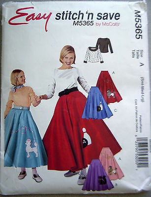 M5365 McCall's POODLE SKIRT & TOP pattern sz S-M-L - EASY HALLOWEEN COSTUMES (Easy Halloween Craft)
