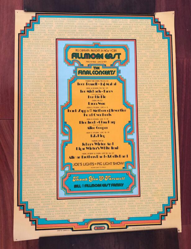 ORIGINAL FILMORE EAST POSTER- THE FINAL CONCERTS-1971-BILL GRAHAM-NYC