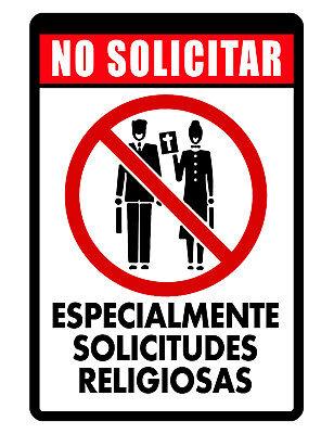 Spanish No Solicit Sign Durable Aluminum No Rust Full Color Custom Metal Sign164