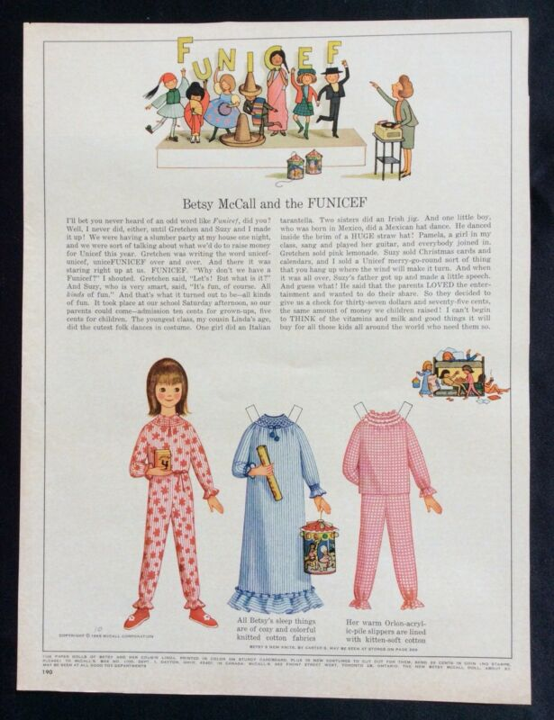 Vintage Betsy McCall Mag. Paper Doll, Betsy McCall and the Funicef, Oct.. 1965