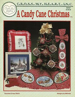 NEW A CANDY CANE CHRISTMAS 18 DESIGNS CROSS STITCH PATTERN BOOK