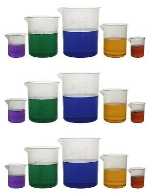 Laboratory Plastic Beaker Set Of 15 Made Of Premium Polypropylene With Raised