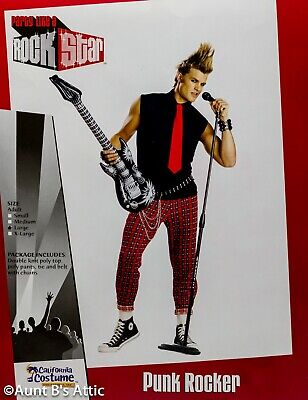 80's Punk Rocker Costume 4 Pc Red Plaid Pants Blk Sleeveless Shirt/Tie Belt - 80s Punk Rocker Costume
