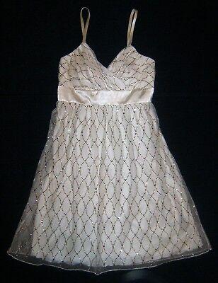 B-Wear Too! ~ Size 7 ~ IVORY Mini PARTY DRESS ~ Satin + Glitter + Mesh Overlay
