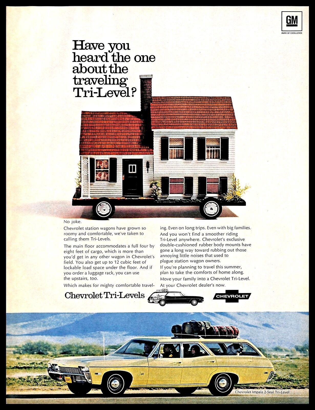 1968 Chevrolet Tri Level Car Vintage Print Ad Station Wagon Family Travel 1960s Ebay