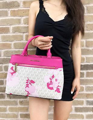 NWT Michael Kors Hailee Kellen Medium Satchel Crossbody Vanilla MK Pink Floral