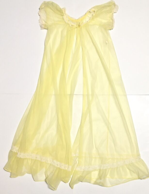 Vtg Sheer Robe Lace Trim Womens Small Yellow Preowned
