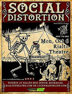 SOCIAL DISTORTION / STONE FOXES  2015 TUCSON CONCERT TOUR POSTER - Mike Ness