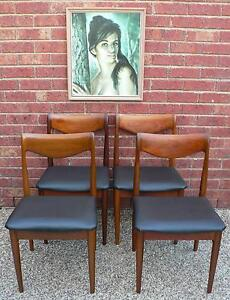 4 x Retro Vintage Dining Chairs Spade Back by Burgess circ 1970's Wantirna South Knox Area Preview