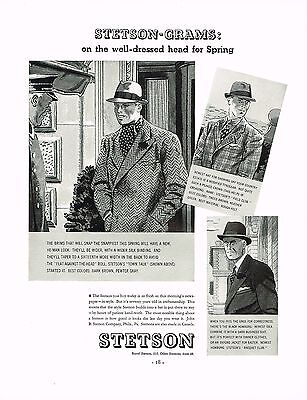 1930s BIG Original Vintage Stetson Men's Fedora Hat Fashion Art Print Ad