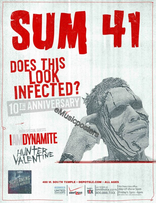 """SUM 41 """"LOOK INFECTED 10th ANNIVERSARY TOUR"""" 2012 SALT LAKE CITY CONCERT POSTER"""