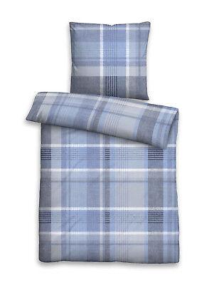 Fein Biber Baumwolle Bettwäsche 2 tlg 135x200 RV Streifen blau grau