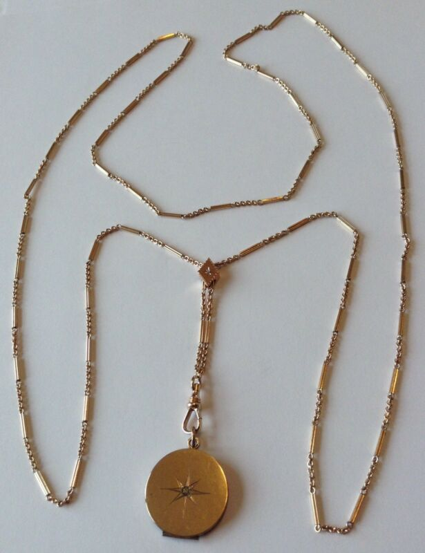 VICTORIAN GOLD FILLED DIAMOND WATCH SLIDE CHAIN NECKLACE WITH LOCKET D6