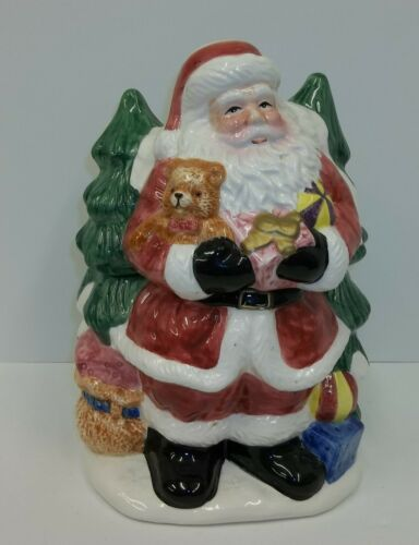 Santa Claus with Christmas Trees Ceramic Cookie Jar