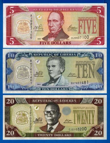 Liberia P-26, P-27, P-28, Years 2003-2011 Uncirculated Banknotes Set # 3
