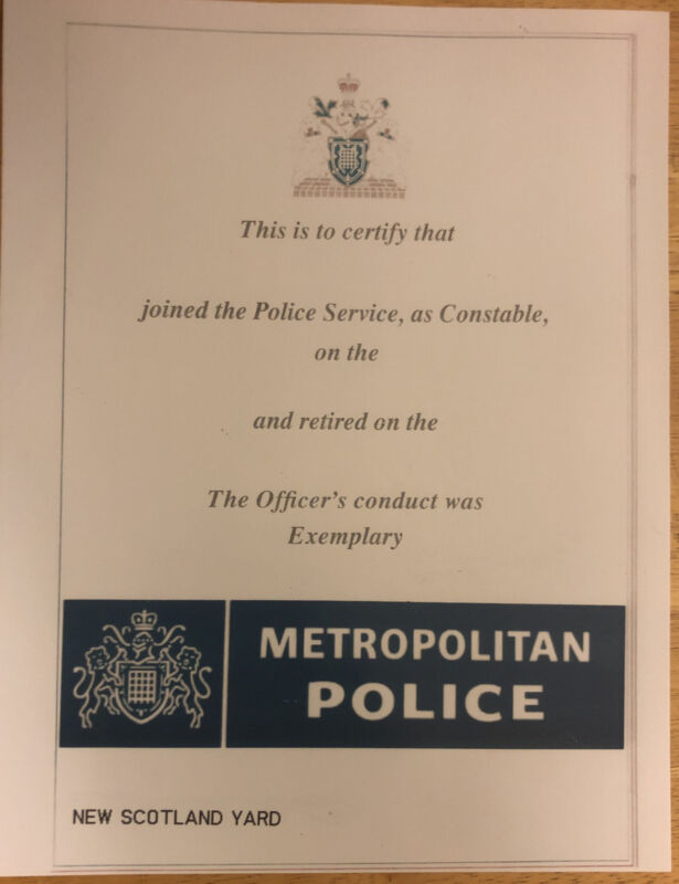 """SCOTLAND YARD-POLICE Officers certificate-comes Blank-Fill In Own Info- 8.5""""x11"""""""