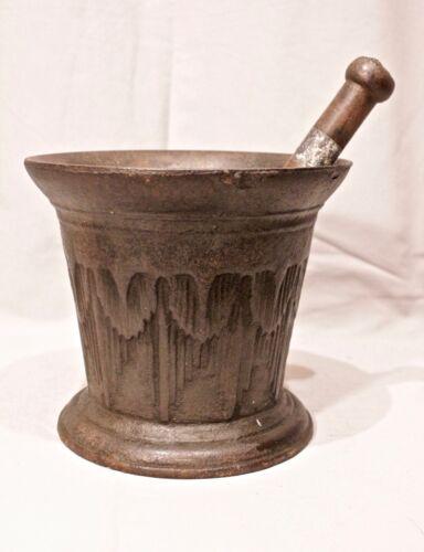"Antique Cast Iron Mortar & Pestle Gold Rush Miners Cast Mid 19c  7"" t 8"" w 25 Lb"