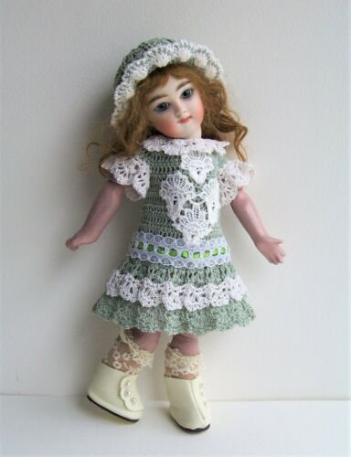 """Handmade Crocheted Dress Set for 9"""" Antique German French Bisque Doll"""