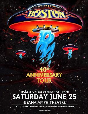 "BOSTON ""40TH ANNIVERSARY TOUR"" 2016 SALT LAKE CONCERT POSTER -Classic Rock Music"