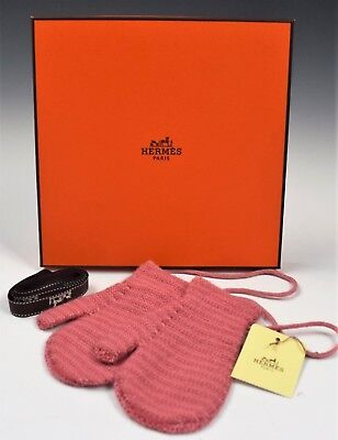 HERMES BABY GIRLS PINK CASHMERE MITTENS W/BOX BABY ACCESSORY GLOVES